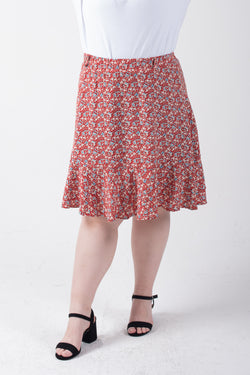 Floral Culotte Skirt In Red