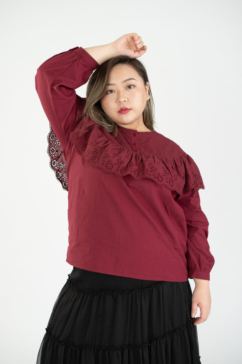 Long Sleeves Blouses With Broderie Frill In Red