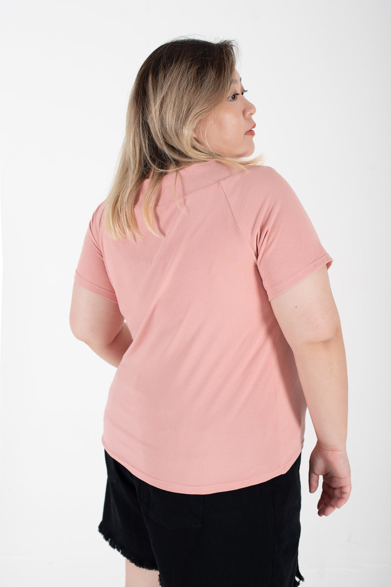 Ribbed Boat Neck Top In Pink