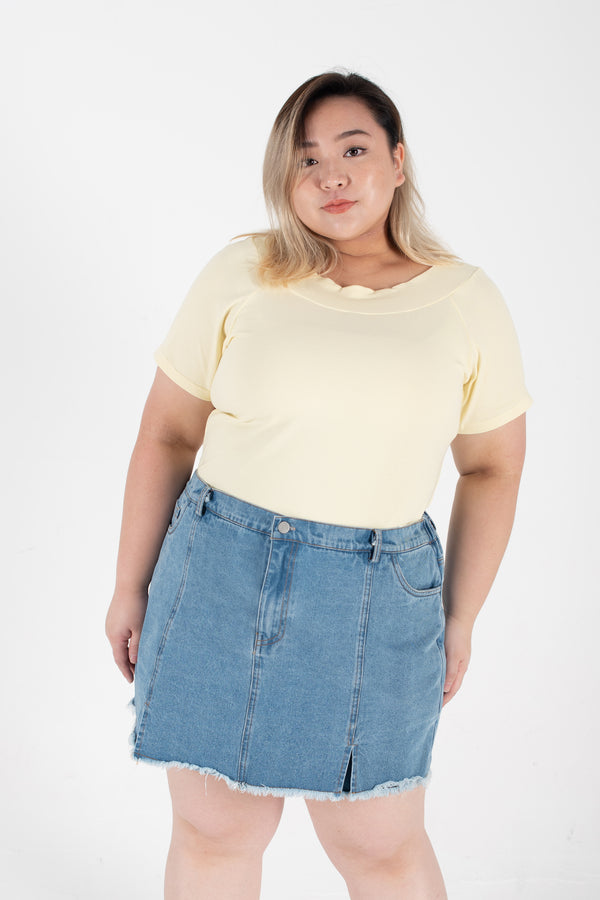 Ribbed Boat Neck Top In Yellow