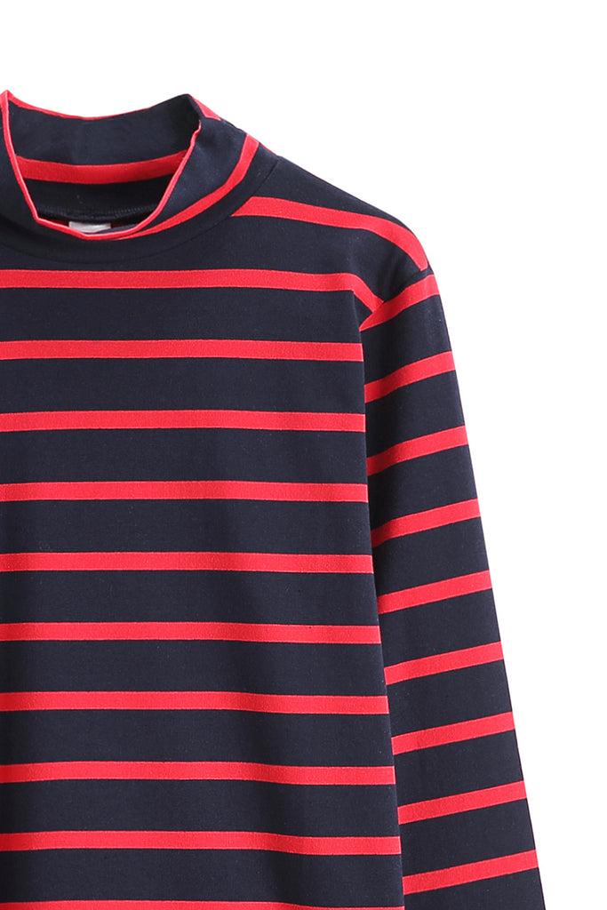 Basic Long Sleeve Top Red Blue Stripe