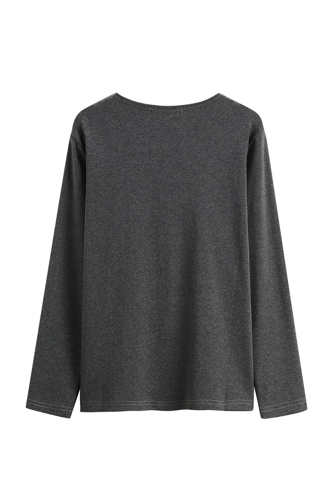 Basic Grey Round Big Neck Long Sleeve Top (Long Version)