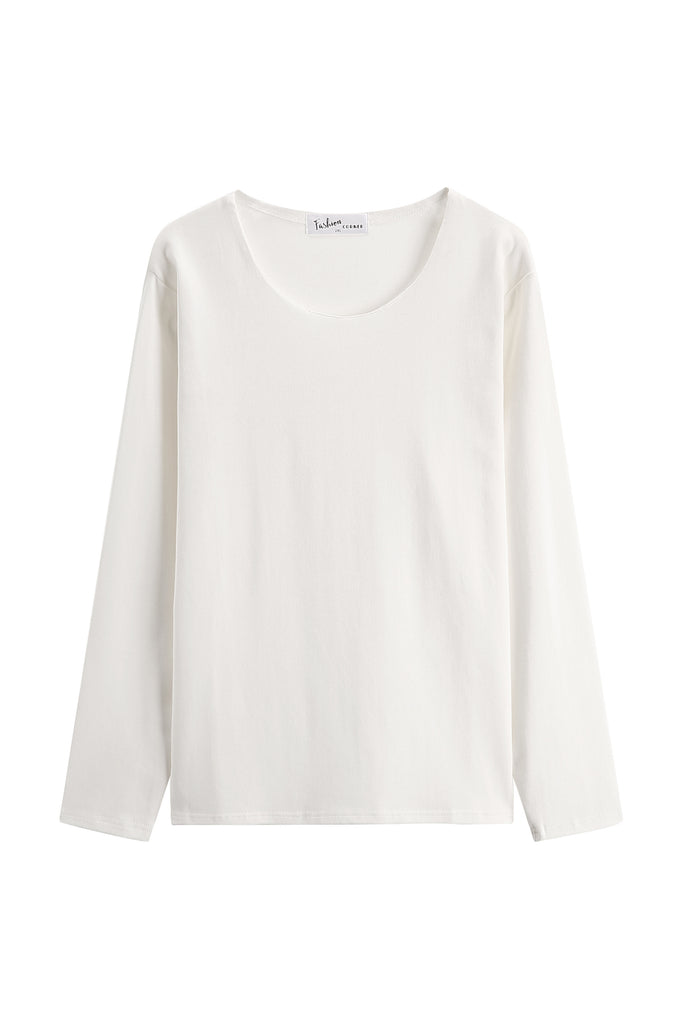 Basic White Round Big Neck Long Sleeve Top (Short Version)
