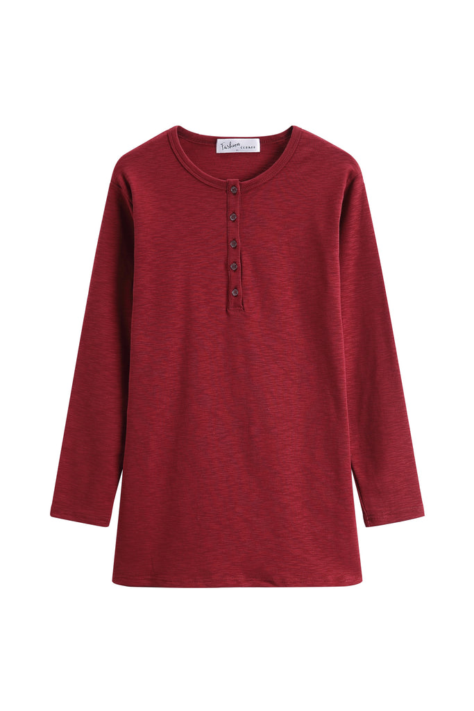 Basic Red Round Neck with Buttons Long Sleeve Top (Long version)