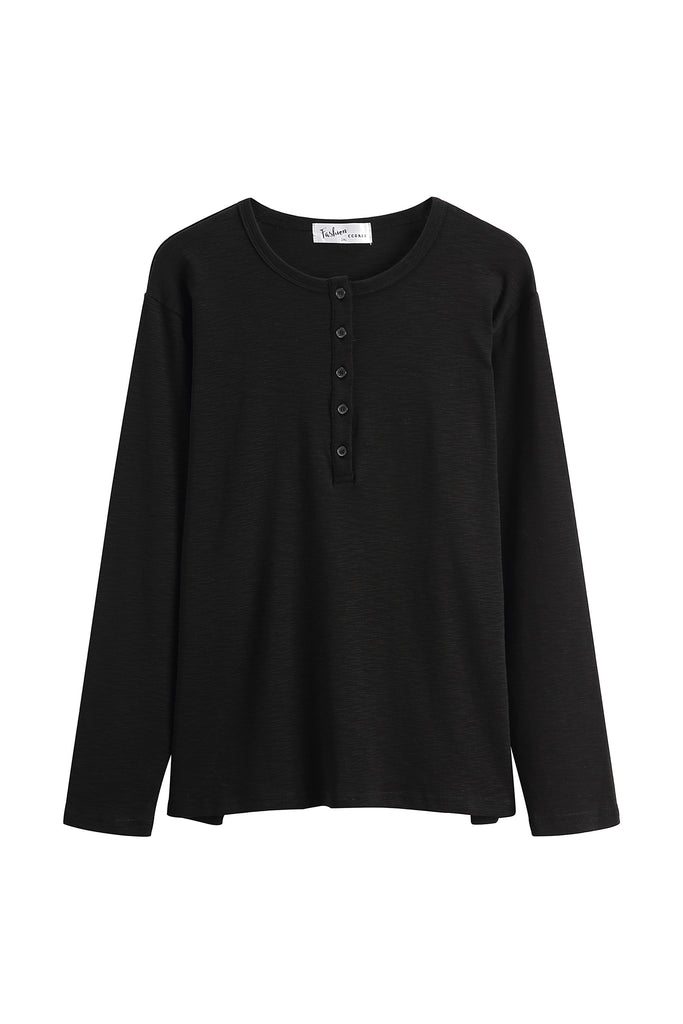 Basic Black Round Neck with Buttons Long Sleeve Top (Short version)