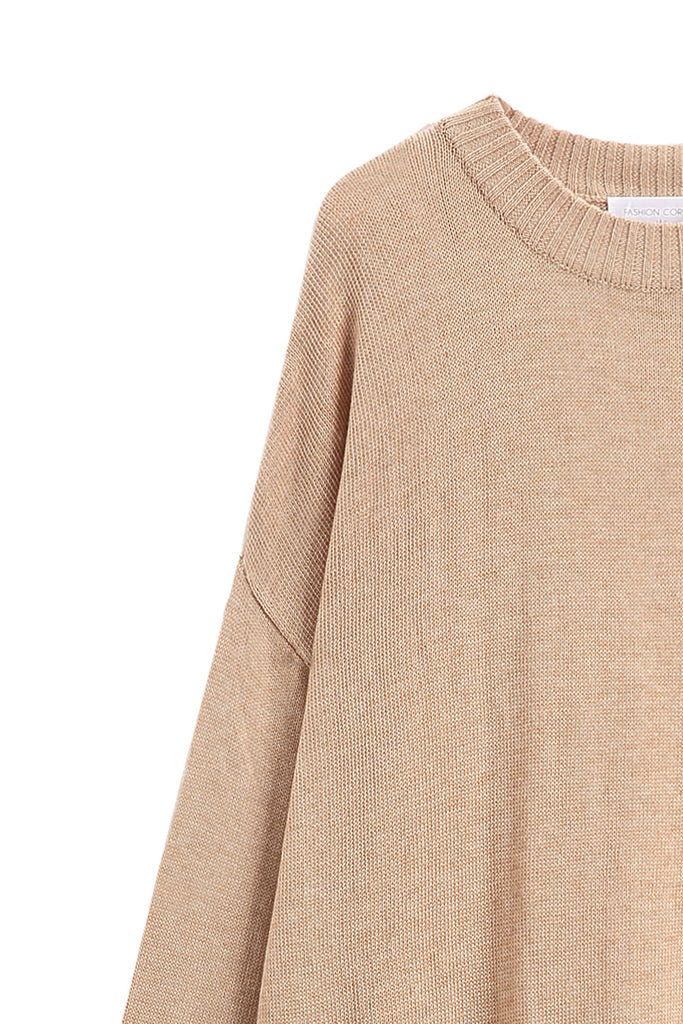 Oversized Brown Long Sleeve Knit Sweater