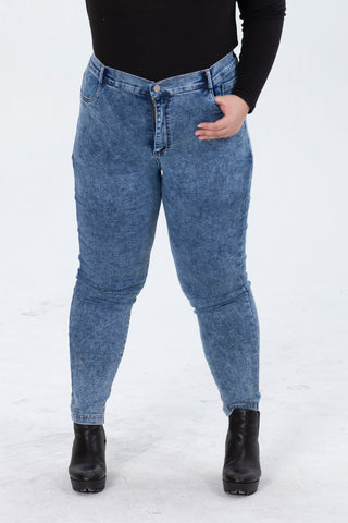 Mid-Blue Wash Skinny Jeans