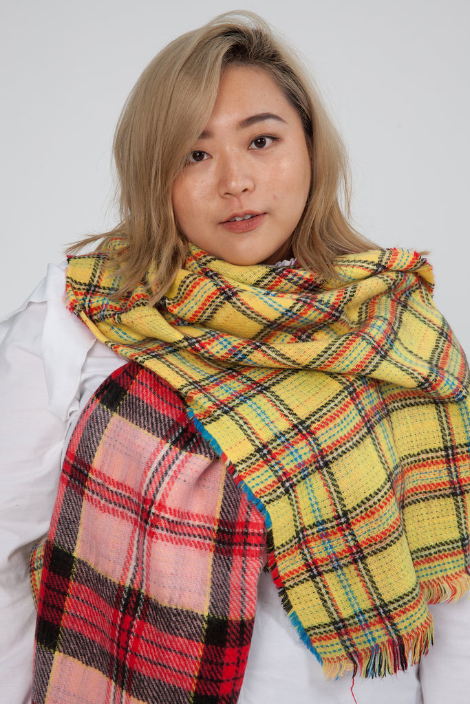Colour Block Check Print Scarf In Pink and Yellow