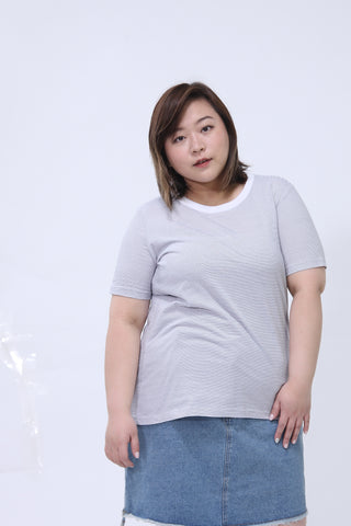 Basic Grey And White Striped T-Shirt