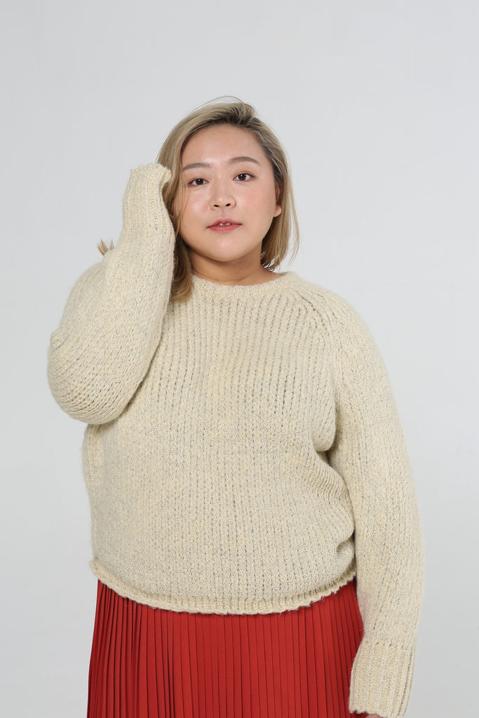 Round Neck Jumper In Beige