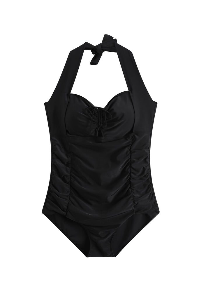 Halter Neck Swimsuit In Black