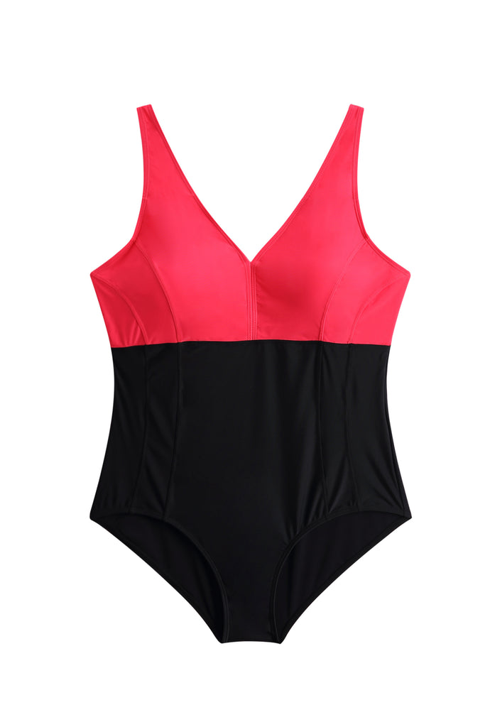 Color Match In Red And Black Swimsuit