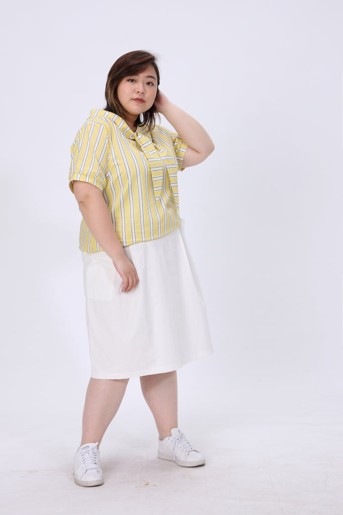 Yellow Tie Front Blouses In Stripe Print