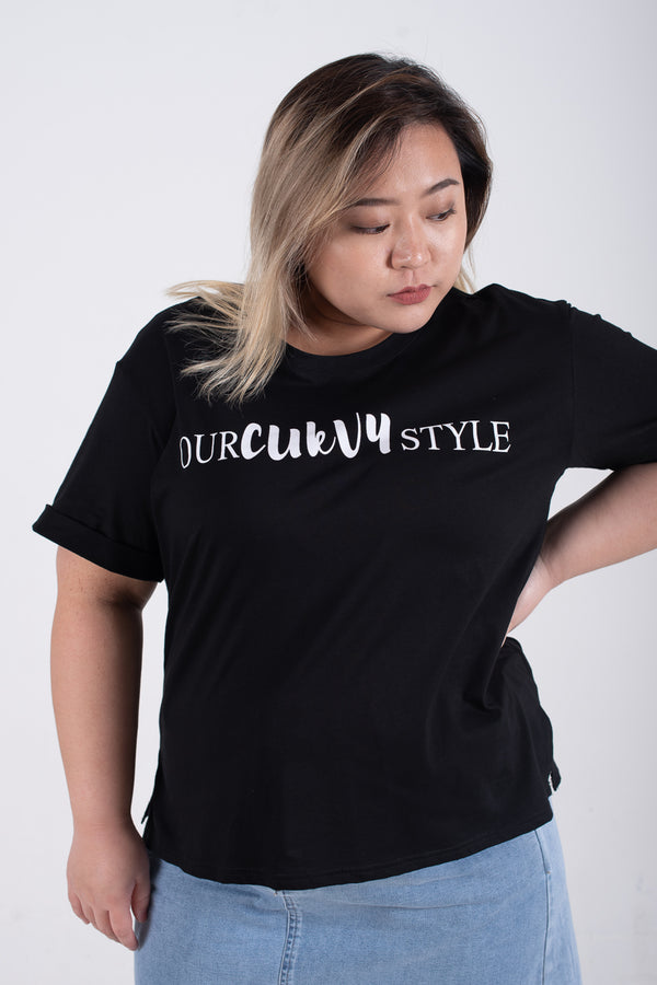 OURCURVYSTYLE T-Shirt In Black