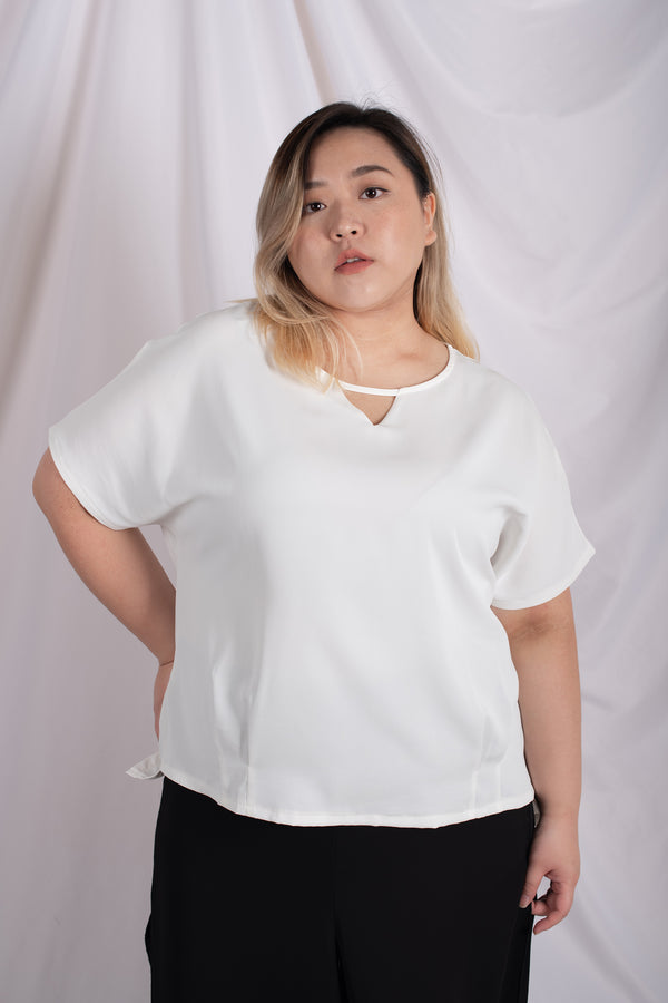 Triangle Cutout Blouses In White