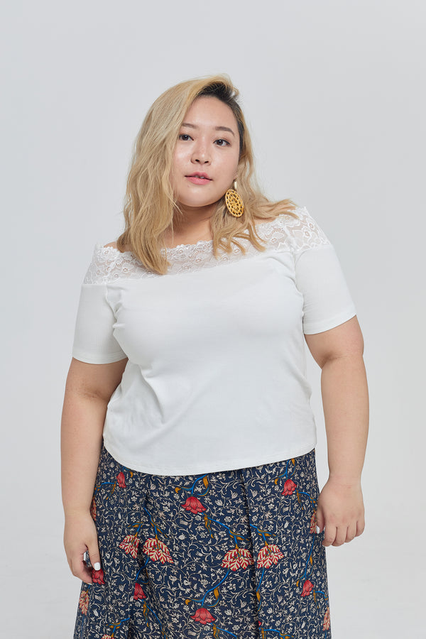 Lace Ribbed Bardot Top In White