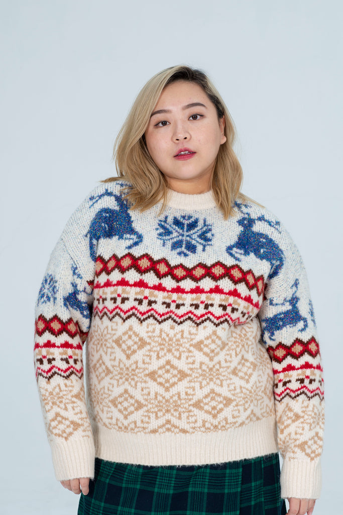 Oversized Christmas Knit In White