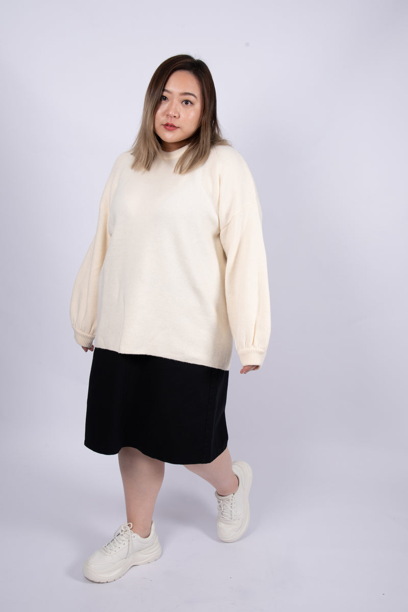 Balloon Sleeves Jumper In White
