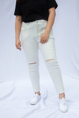 Knee Rip Jeans In White