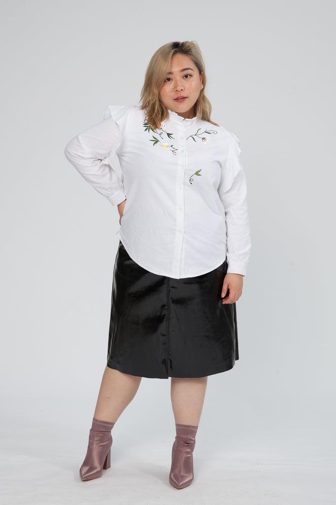 Embroidered Top With Frill Detail In White