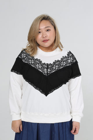 Colour Block Sweatshirt With Lace Details In White