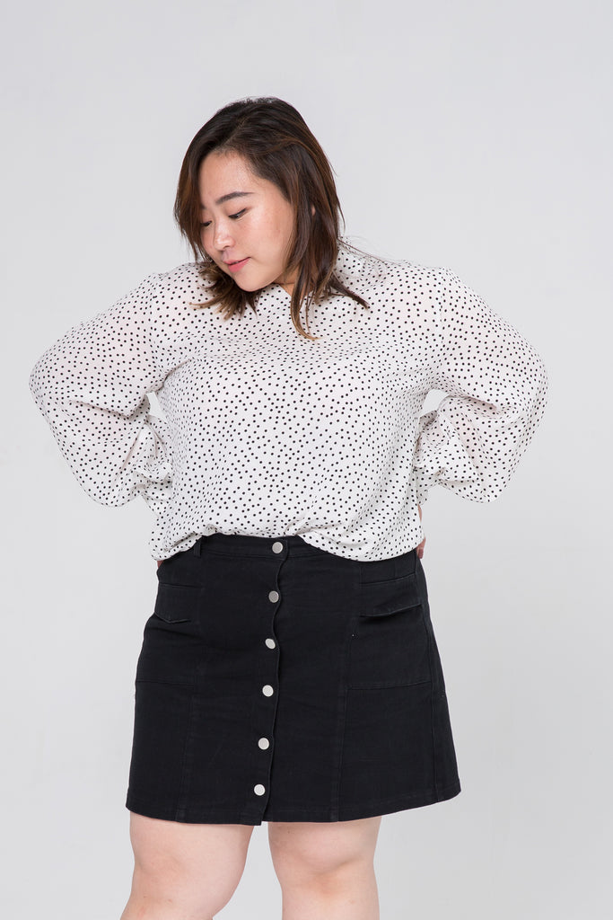 Balloon Sleeves Blouse In White Dot Print