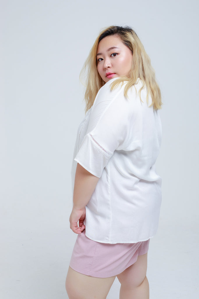 White Shirt With Cutout details