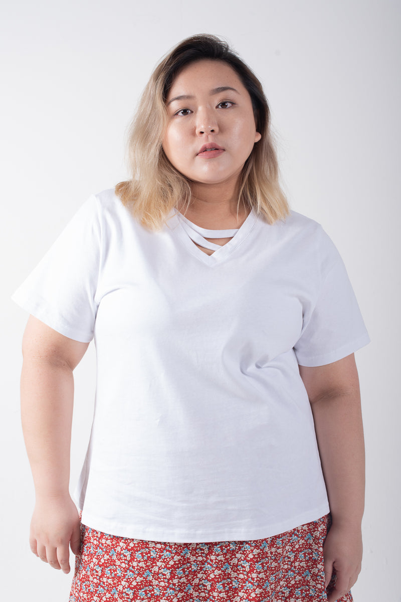 Strap Front T-shirt In White