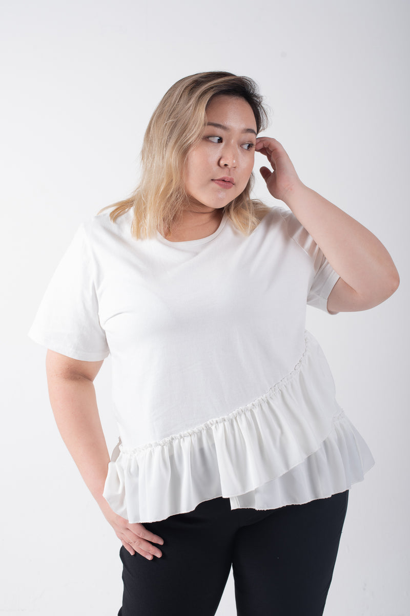 White Top With Chiffon Ruffle Hem