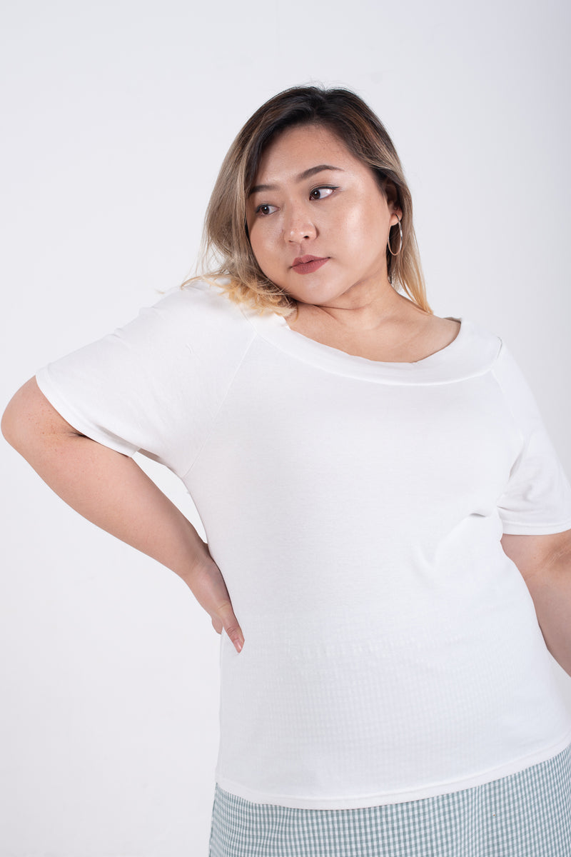 Boat Neck Top In White