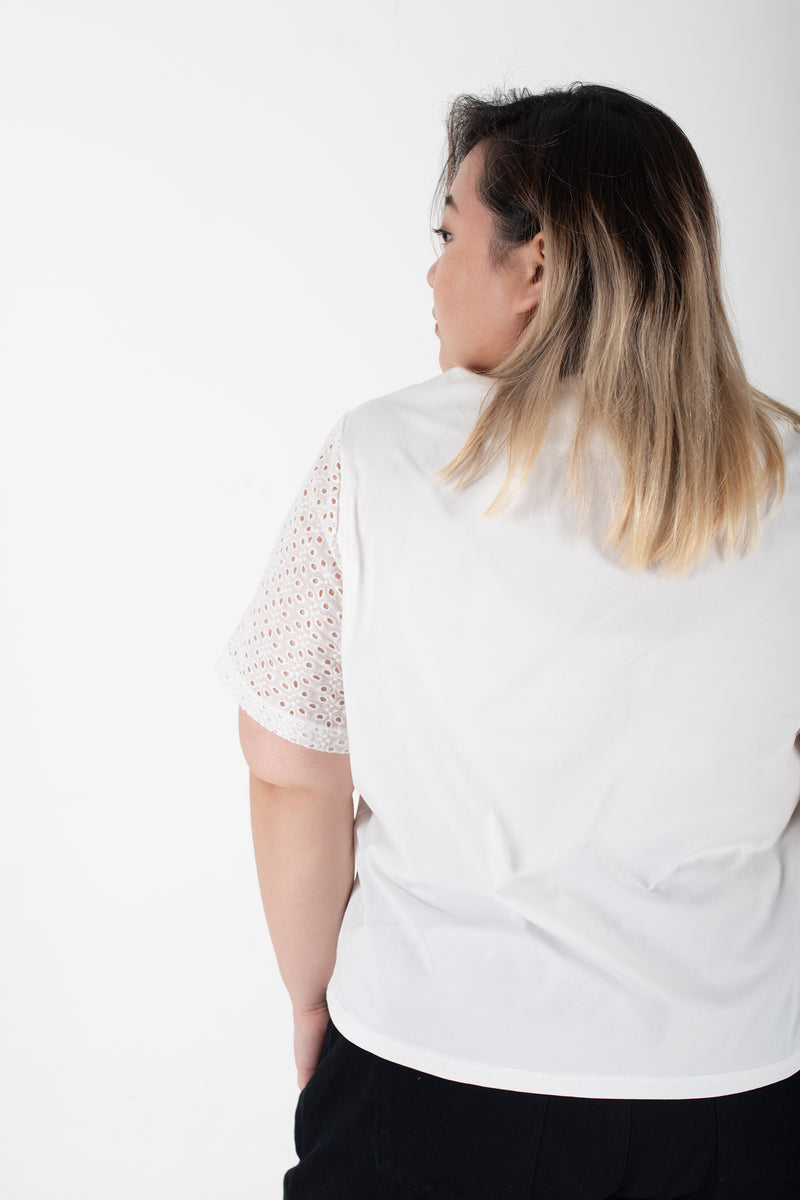 Square Top In White With Broderie Sleeves