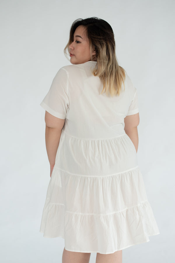 Tiered Dress In White
