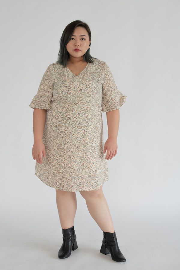 V-Neck Floral Dress In Beige With Flared Sleeves
