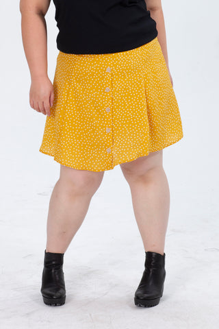 Dot Print Culotte Shorts In Yellow