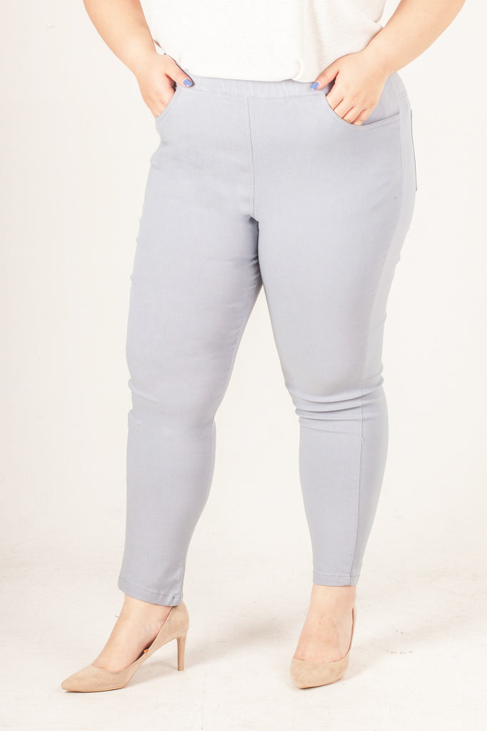 Grey Polyester Long Trousers