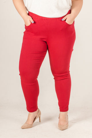 Red Polyester Long Trousers