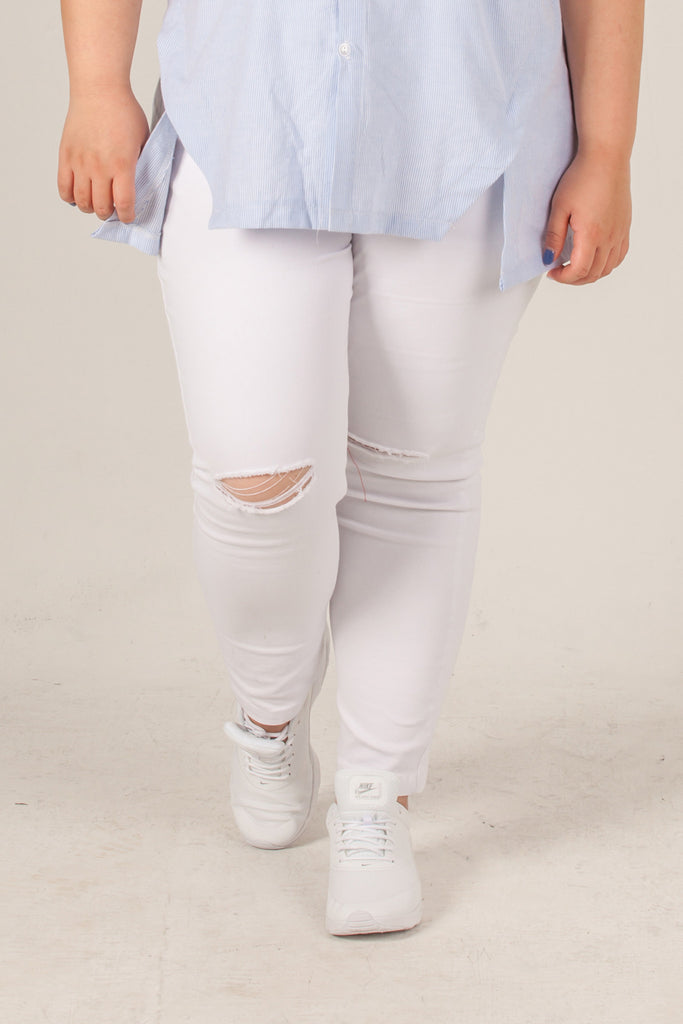 White Busted Knee Jeans