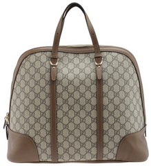 Gucci Boston Brown GG Coated Canvas & Leather Satchel