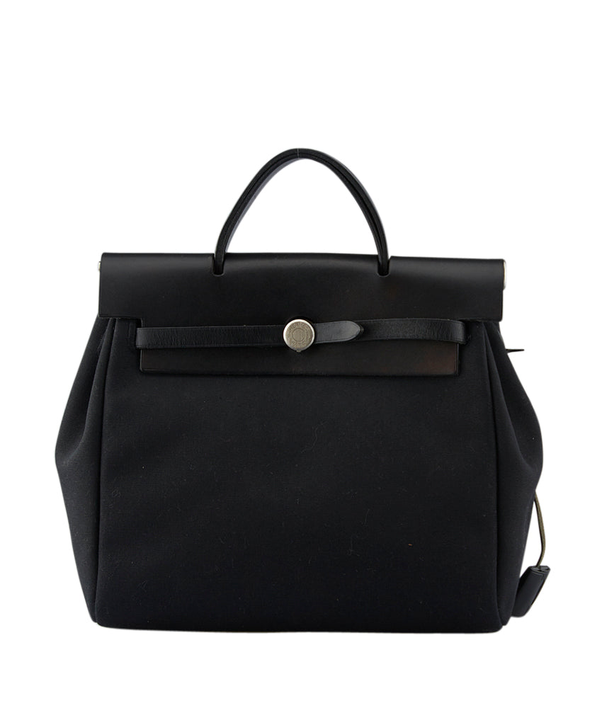 Hermes Herbag Black Leather & Canvas Satchel