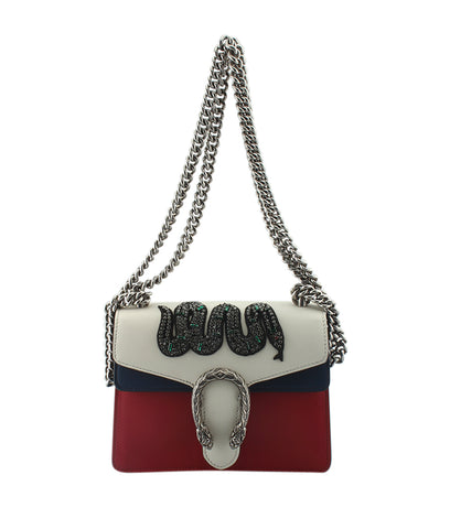 Gucci 421970  Mini Dionysus Embroidered White & Red & Blue Leather Crossbody Bag