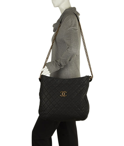 Chanel A67623 Black Caviar Quilted Leather Shoulder Bag