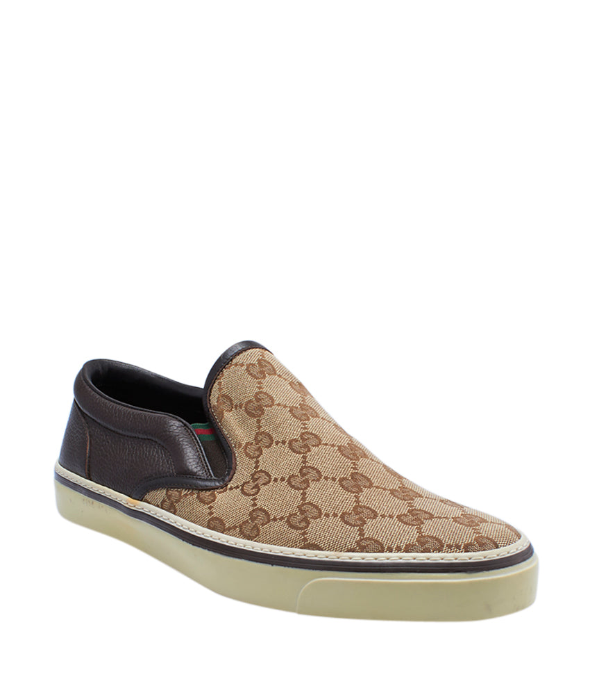 11df72f4ee04 Gucci Brown Leather   Canvas Loafers