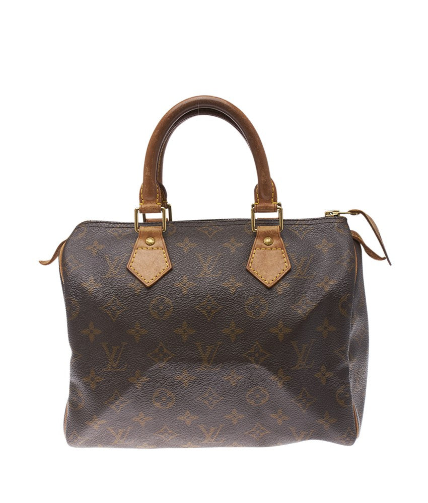 Louis Vuitton Speedy 25 Brown Monogram Coated Canvas & Leather Satchel