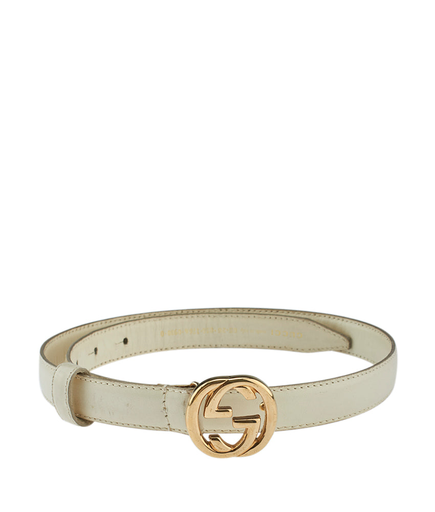 090e7cd25 Gucci Cream Leather Belt, Size 65 | Cash In My Bag