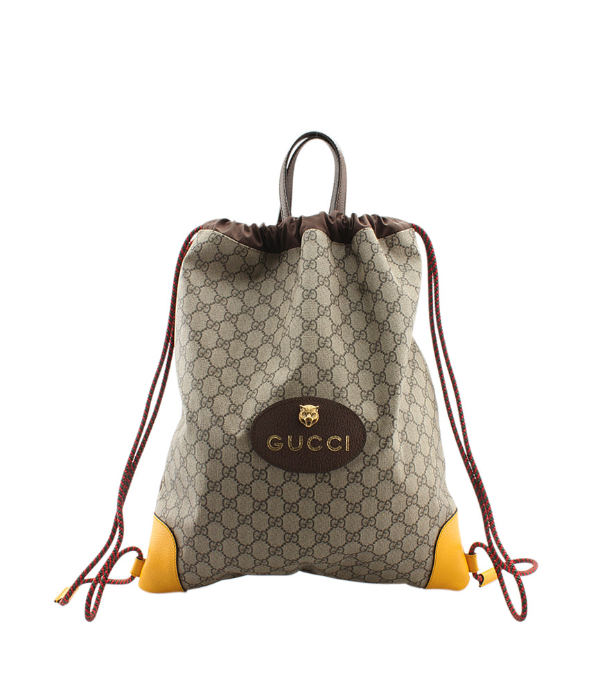 f8e885f3091 Gucci 473872 Brown   Yellow Canvas Backpack