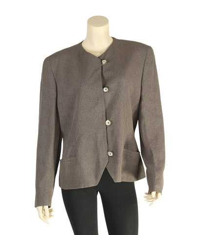 Christian Dior Brown Acetate & Rayon Blazer, Size 12