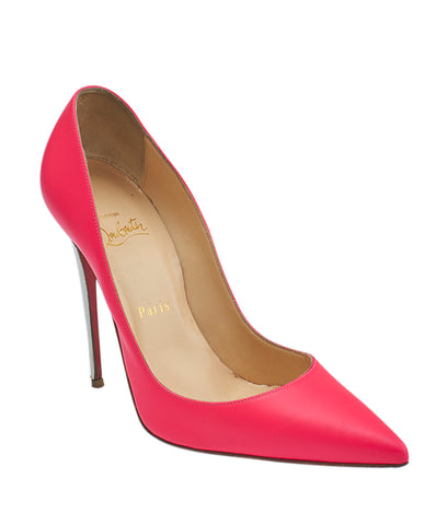 Christian Louboutin 1150706 So Kate 120 Fluo Pink Leather Pumps, Size 7.5