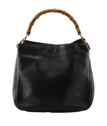 Gucci Bamboo Black Leather Hobo Bag