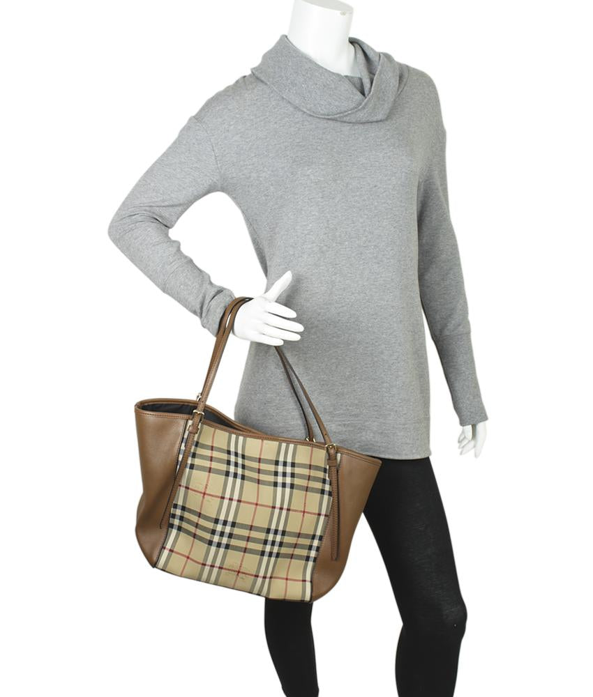 Burberry Small Canterbury Haymarket Check Brown Leather Bag