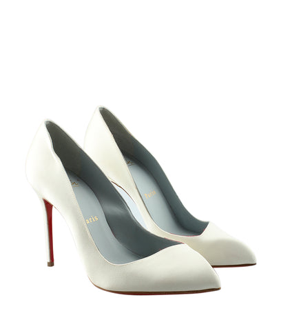 Christian Louboutin 1120488 Corneille 100 White Satin Pumps, Size 6.5